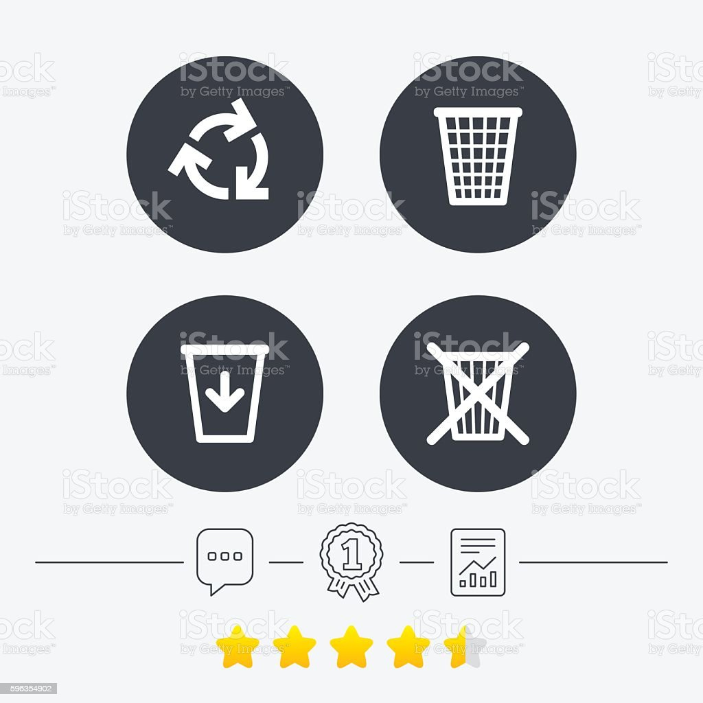 Recycle bin icons. Reuse or reduce symbol. royalty-free recycle bin icons reuse or reduce symbol stock vector art & more images of award