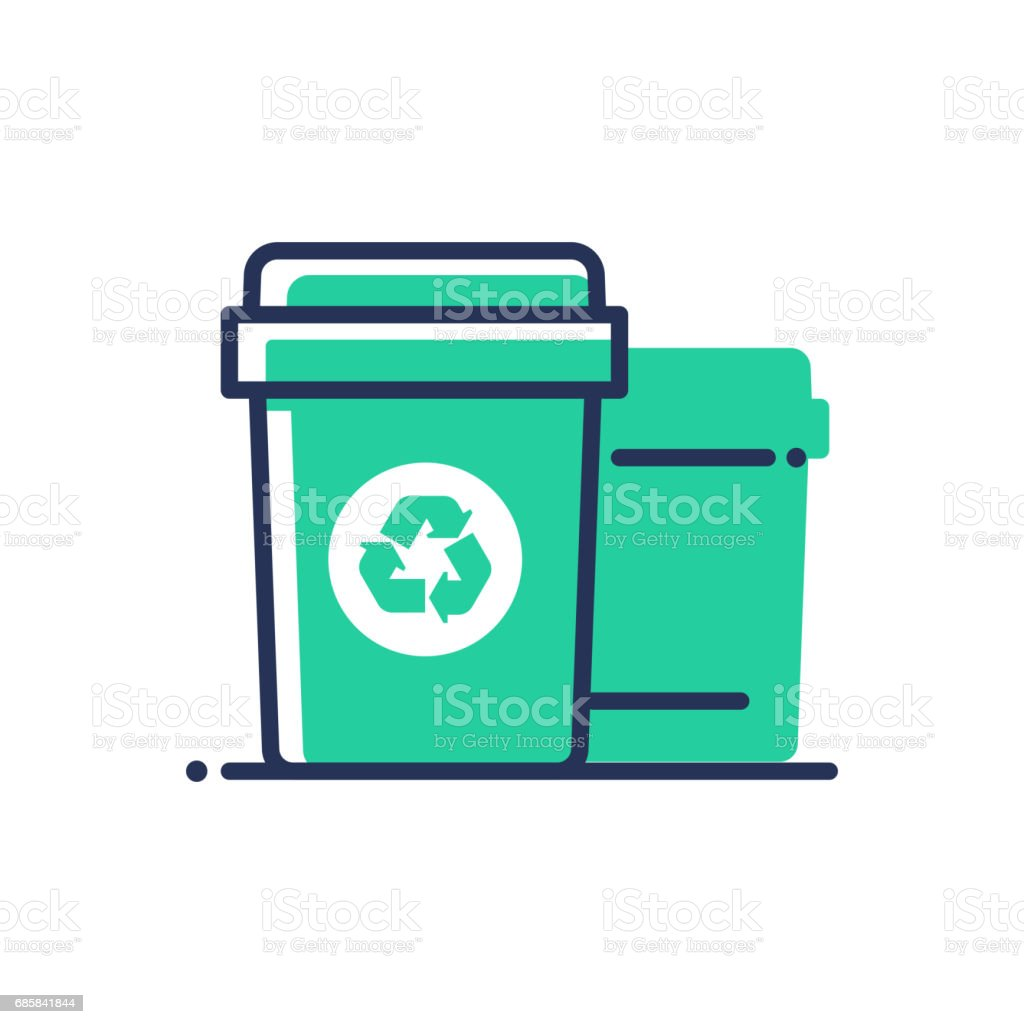 Recycle bin - modern vector single line icon vector art illustration