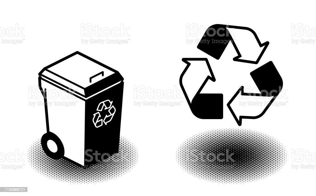 recycle bin and recycle symbol in bold black style