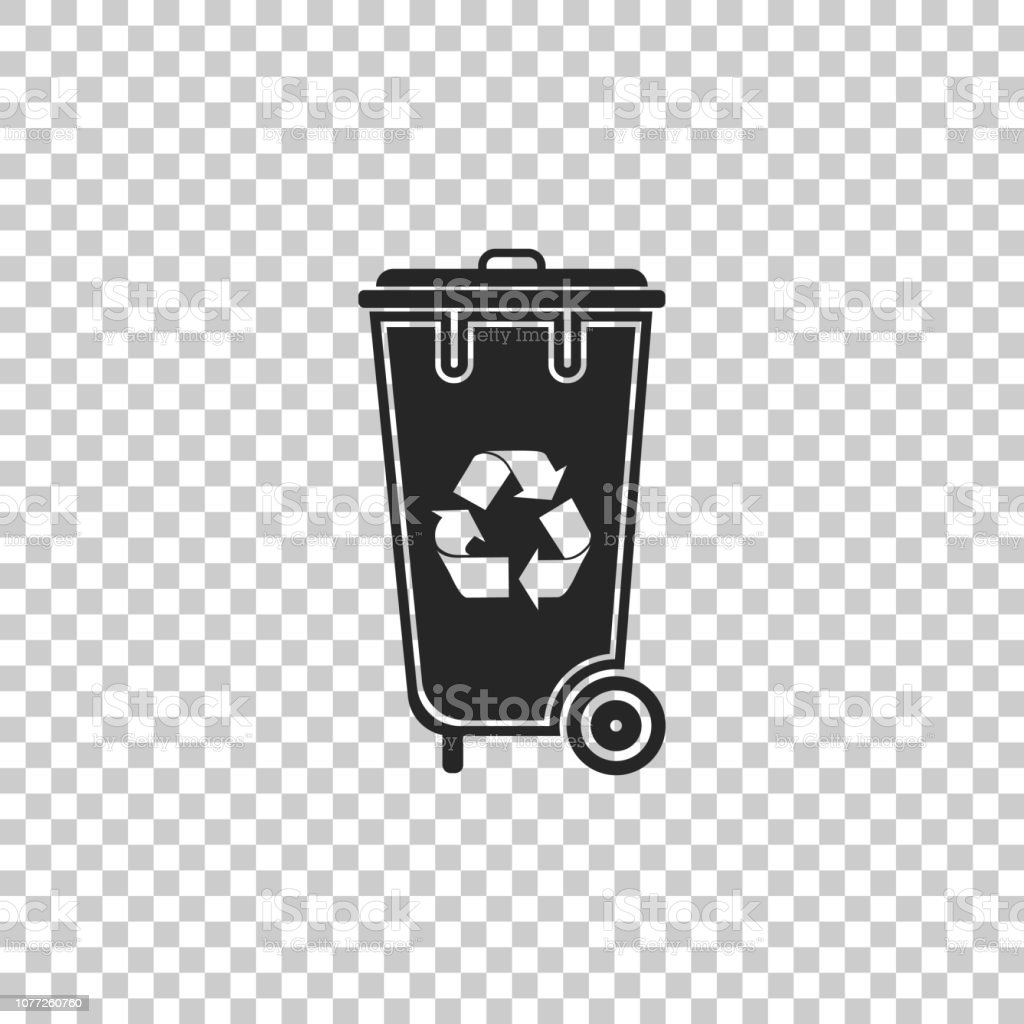 Recycle bin with recycle symbol icon isolated on transparent...