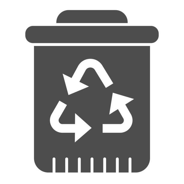 Recycle bin with recycling sign solid icon. Plastic bucket for waste sorting. Zero waste design concept, glyph style pictogram on white background, use for web and app. Eps 10. Recycle bin with recycling sign solid icon. Plastic bucket for waste sorting. Zero waste design concept, glyph style pictogram on white background, use for web and app. Eps 10 plastic pollution stock illustrations