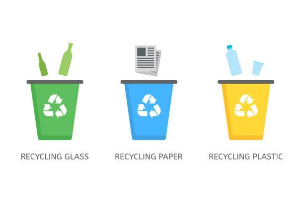 papierbehälter für plastik, papier, glasvektorsymbole im flachen stil - recycling stock-grafiken, -clipart, -cartoons und -symbole