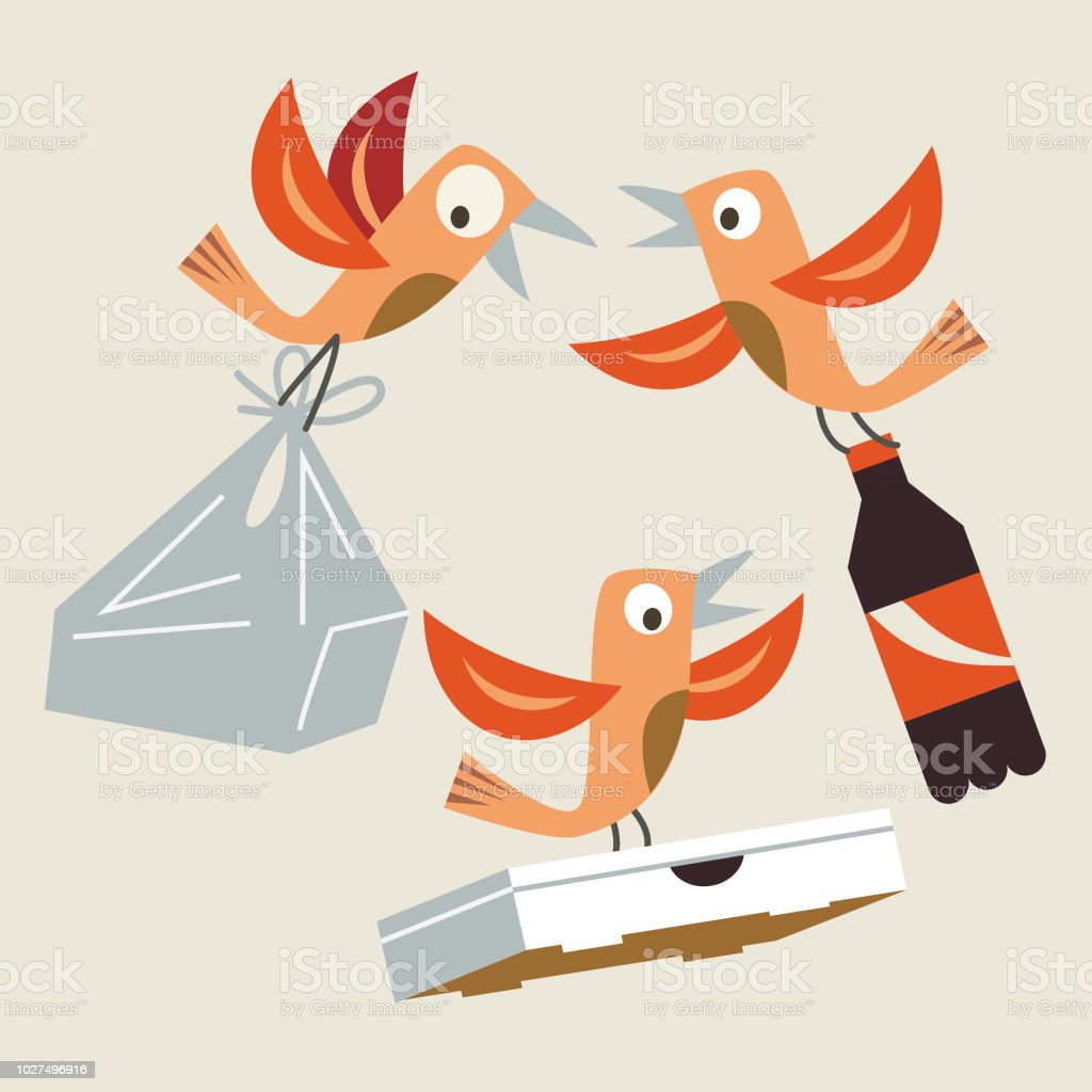 recycle birds vector art illustration