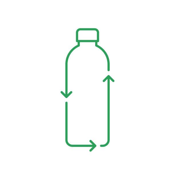 recycling-flasche-linie-symbol. kunststoffflasche mit recyclingpfeilen. null abfall und nachhaltigkeitskonzept. - altglas stock-grafiken, -clipart, -cartoons und -symbole