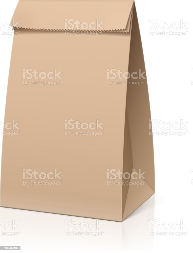 Recycle brown paper bag vector art illustration