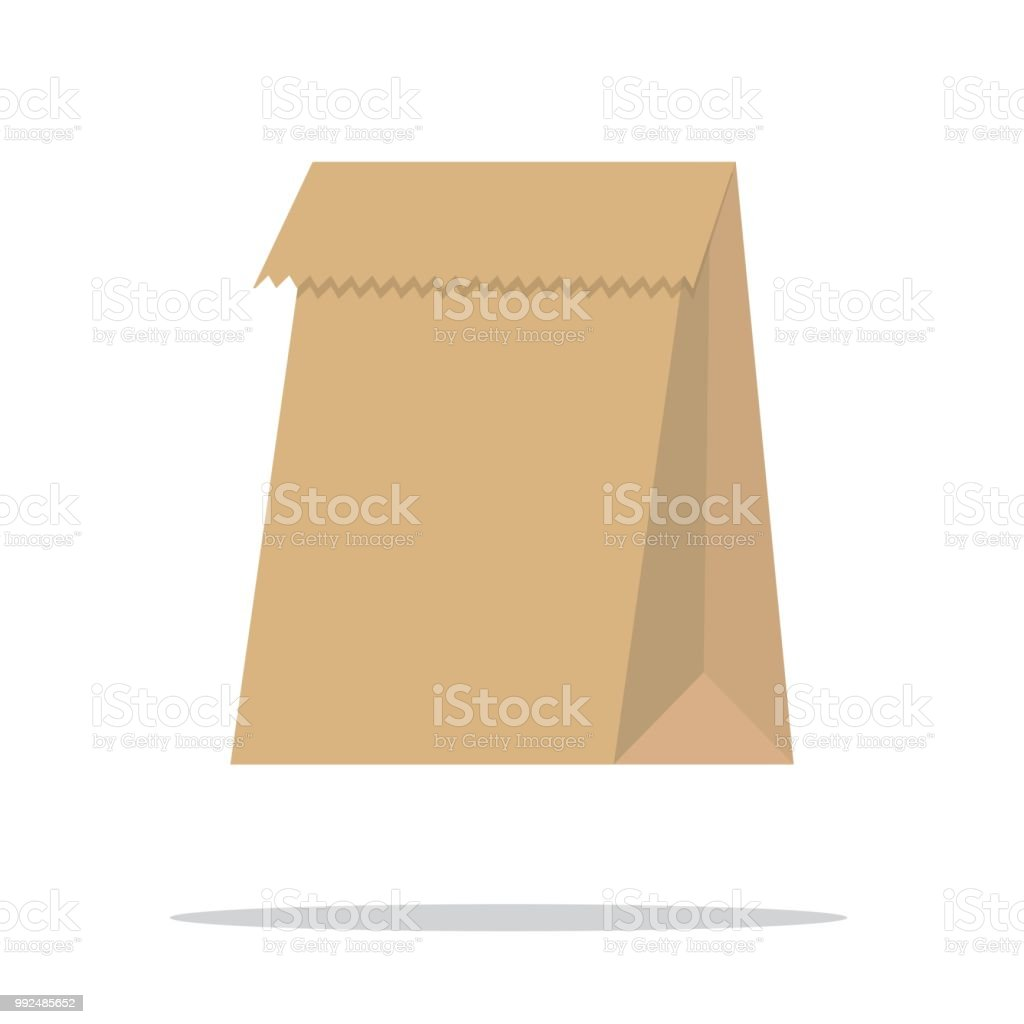 Recycle brown paper bag. Vector vector art illustration