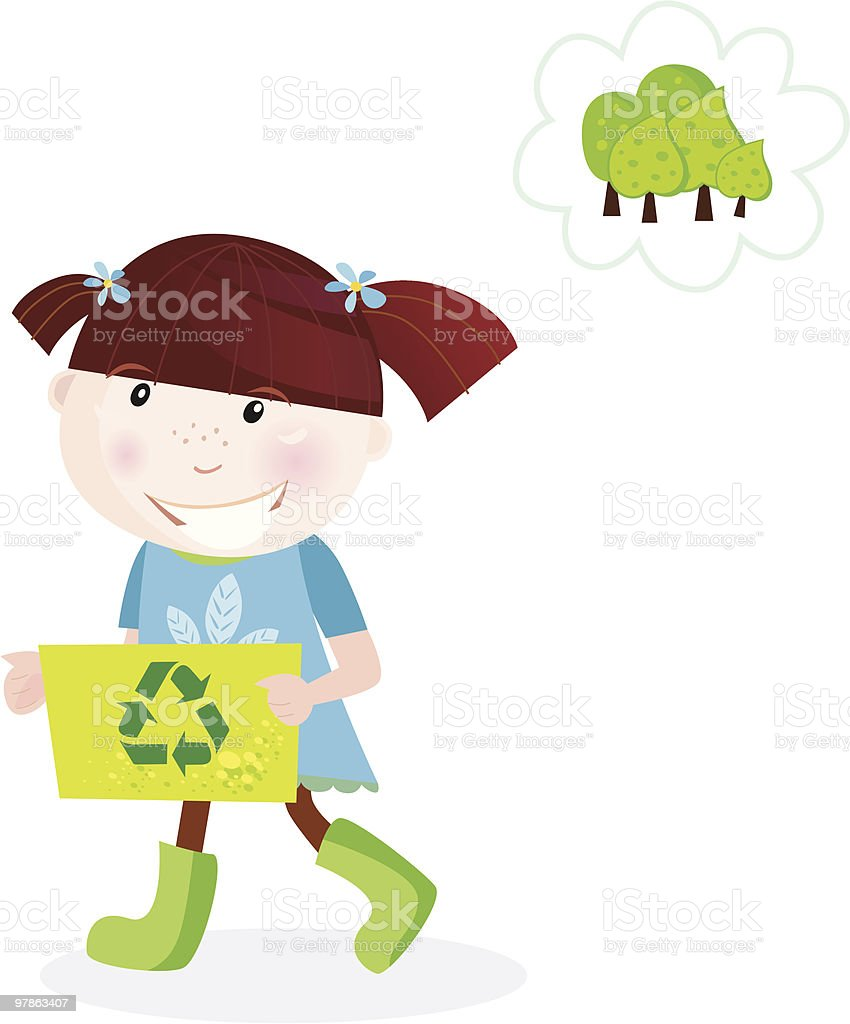 Recycle child with garbage box royalty-free stock vector art