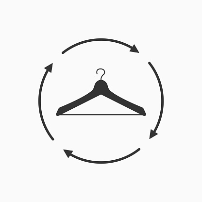 Recycle clothing concept. Recycle sign icon with clothes hanger. Vector