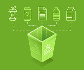 Vector illustration in modern flat linear isometric style - recycle trash bin - sorting and recycling different types of garbage - organic, glass, paper, plastic, metal - infographic design elements and icons