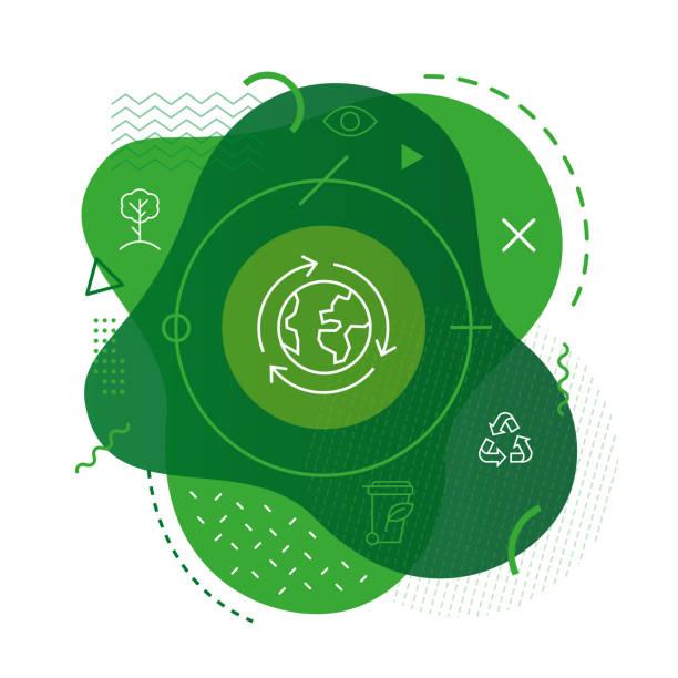 recyceln erde symbol auf modernem hintergrund - nachhaltigkeit stock-grafiken, -clipart, -cartoons und -symbole