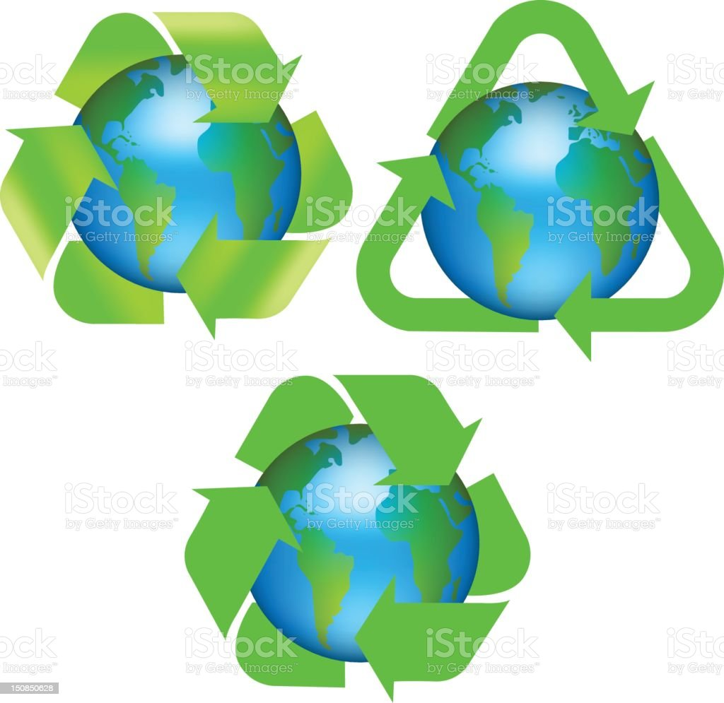 Recycle earth logos vector art illustration