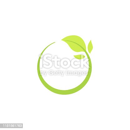 Recycle eco natural icon with green leaf, isolated ecology vector illustration.