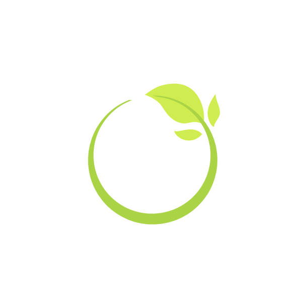 Recycle eco natural icon with green leaf. Recycle eco natural icon with green leaf, isolated ecology vector illustration. origins stock illustrations