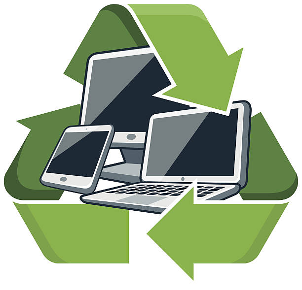 recycle electronic devices - electronics stock illustrations