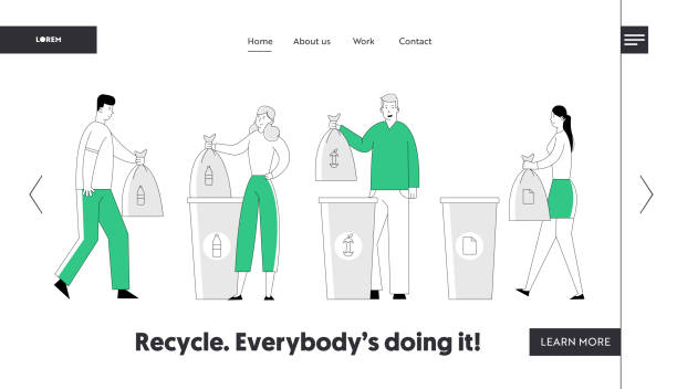 Recycle Environmental Pollution Problem Website Landing Page. People Throw Garbage into Recycling Containers, Collecting Trash. Ecology Protection Web Page Banner. Cartoon Flat Vector Illustration Recycle Environmental Pollution Problem Website Landing Page. People Throw Garbage into Recycling Containers, Collecting Trash. Ecology Protection Web Page Banner. Cartoon Flat Vector Illustration plastic pollution stock illustrations