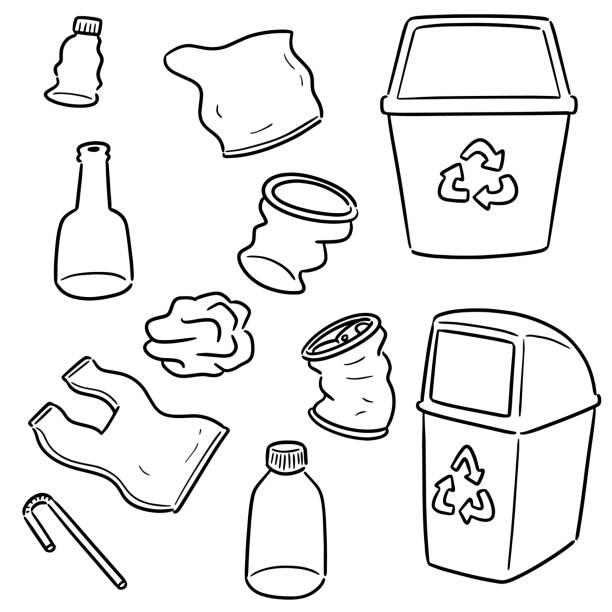 recycle garbage and recycle item – artystyczna grafika wektorowa