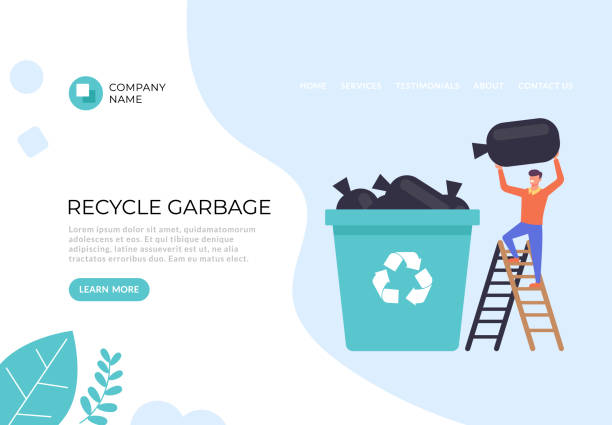 Recycle garbage banner poster illustration. Vector flat graphic design illustration vector art illustration
