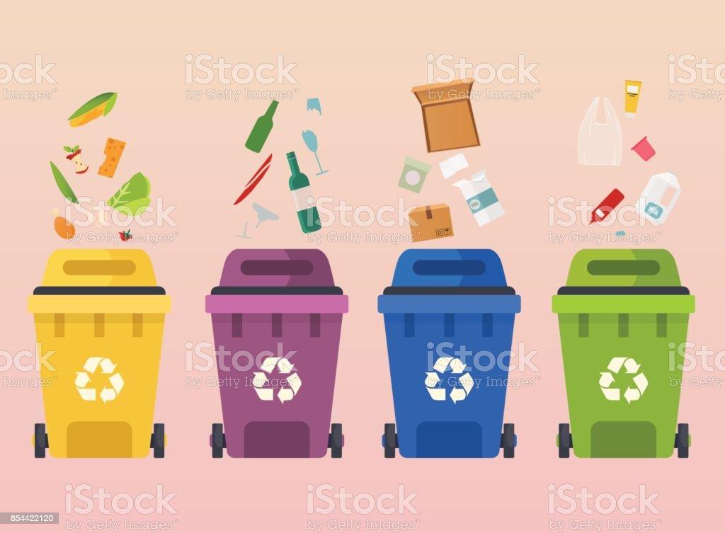 Reciclar contenedores de basura. Reciclaje de segregación de los tipos de residuos: residuos orgánicos, papel, vidrio. Concepto de ilustración vectorial moderna diseño plano. - ilustración de arte vectorial