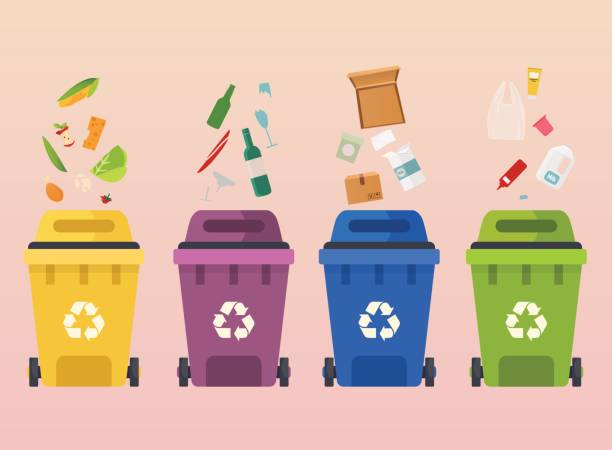 Recycle garbage bins. Waste types segregation recycling: organic, paper, glass waste. Flat design modern vector illustration concept. Recycle garbage bins. Waste types segregation recycling: organic, paper, glass waste. Flat design modern vector illustration concept. bottle bank stock illustrations