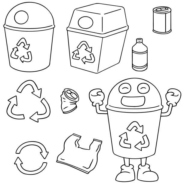 recycle garbage – artystyczna grafika wektorowa