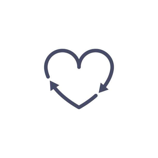 bildbanksillustrationer, clip art samt tecknat material och ikoner med återvinna hjärta pil tecken. återvinna kärlek ikon vektor. hjärt form cykel earth miljö bakgrunds koncept - recycling heart