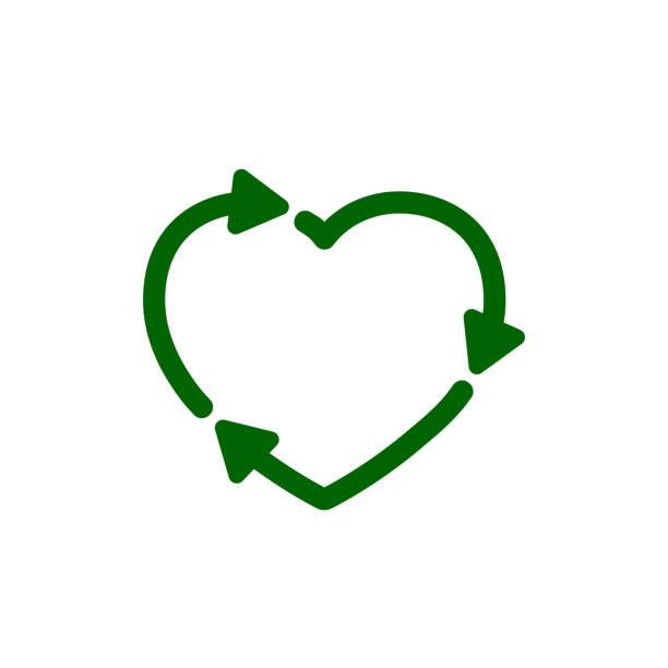 bildbanksillustrationer, clip art samt tecknat material och ikoner med återanvända hjärtikonen. kärlek eco sign-för lager - recycling heart
