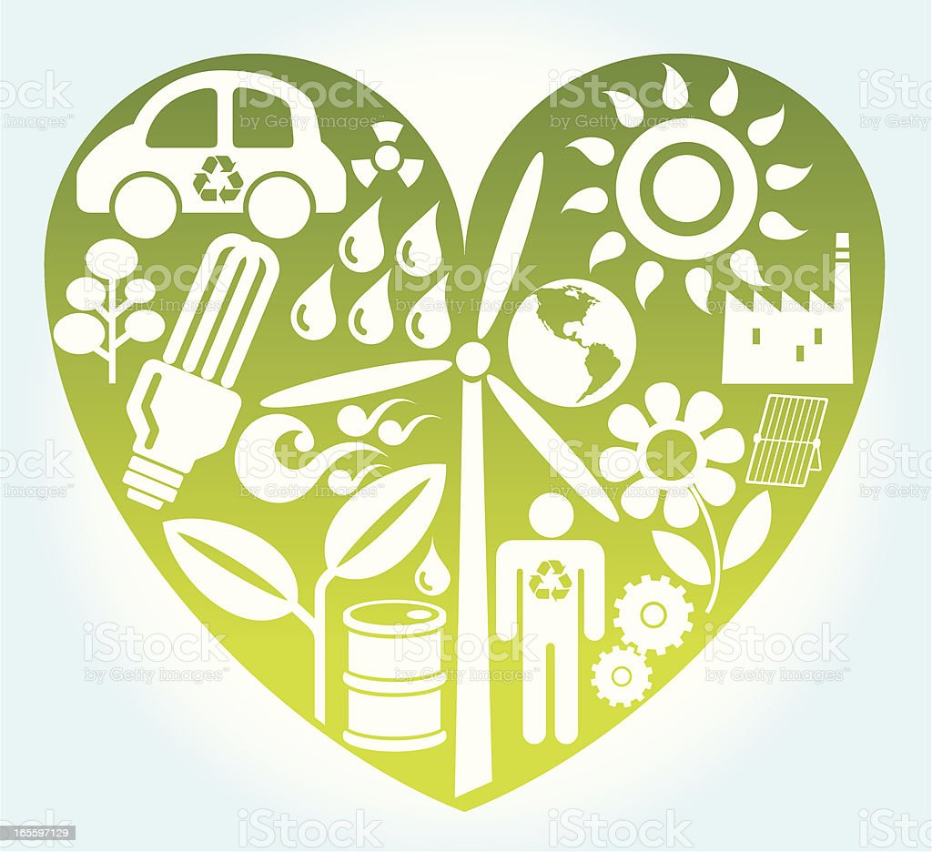 Reciclar icono del corazón ilustración de reciclar icono del corazón y más banco de imágenes de aerogenerador libre de derechos