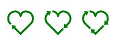 Recycle heart symbol set. Green heart shape recycle icon. Reload sign. Reuse, renew, recycling materials, concept.