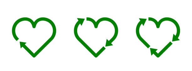 Recycle heart symbol set. Green heart shape recycle icon. Reload sign. Reuse, renew, recycling materials, concept. Eco friendly concept. Love the earth. Conscious consumerism. Vector illustration. environmental issues stock illustrations