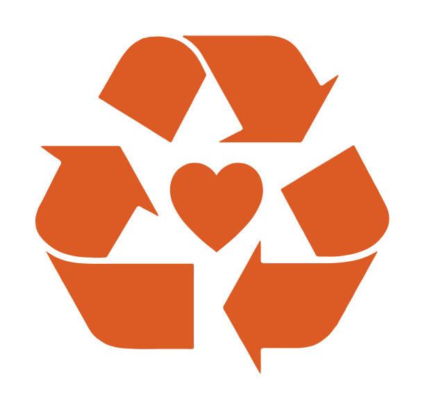bildbanksillustrationer, clip art samt tecknat material och ikoner med återvinna hjärta - recycling heart