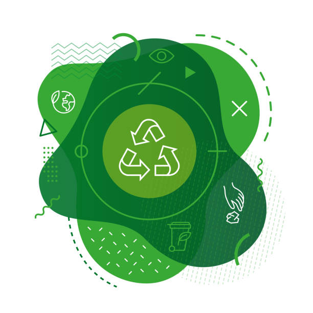 Recycle icon background Modern background with recycle icon environmental issues stock illustrations