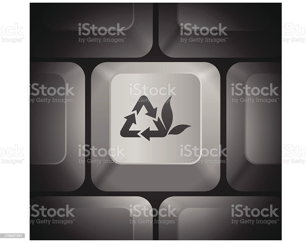 Recycle Icon on Computer Keyboard royalty-free stock vector art