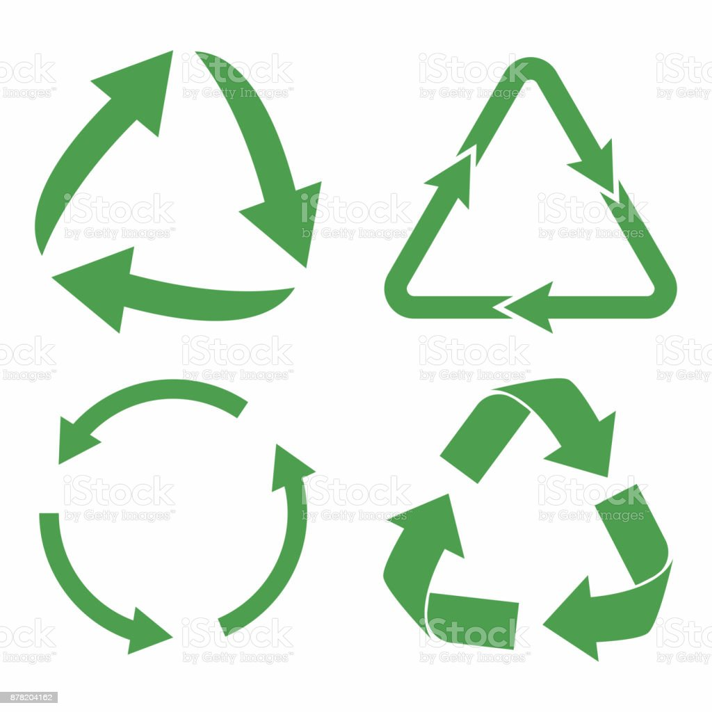 Recycle icon set. Green eco cycle arrows. Recycle symbol in ecology