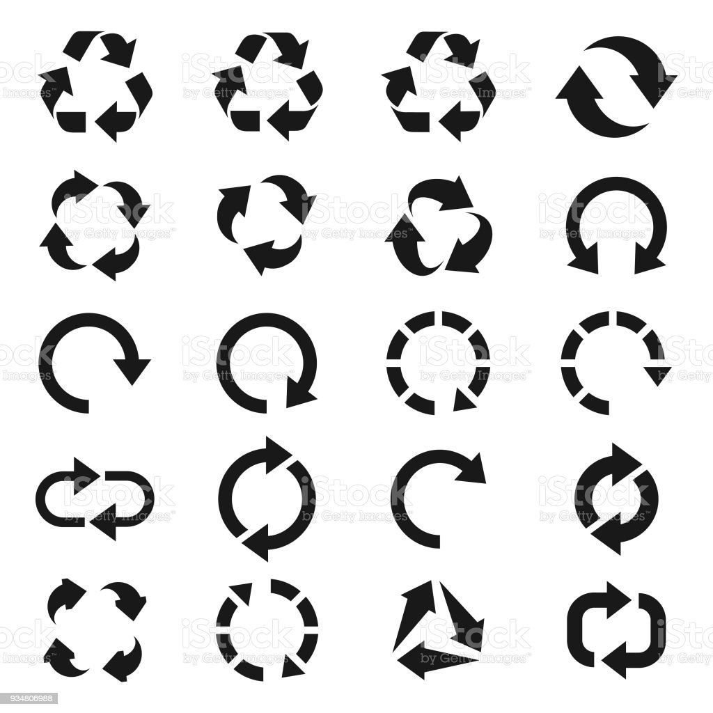 Recycle icon set vector art illustration