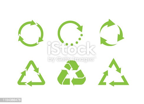 Recycle icon vector.Recycle Recycling set symbol.Ecologically pure funds.Set of Eco green arrows.Flat illustration. - Vector