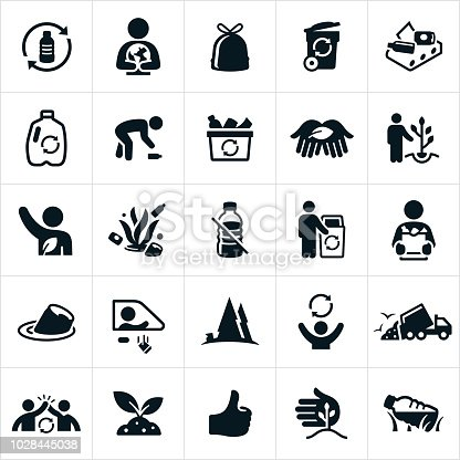 A set of recycling icons. The icons include recycle symbol, earth, protection, garbage, litter, garbage can, recycle facility, plastic, picking up trash, recycle bin, planting trees, person, volunteer, environmental conservation, soda can, deforestation, garbage dump, garbage truck, high five, thumbs up and litter in the ocean to name a few.