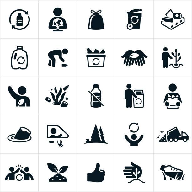 illustrations, cliparts, dessins animés et icônes de recycler icônes de - dechets