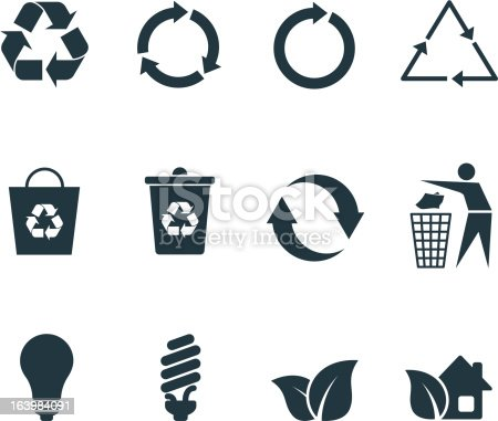A set of recycle icons grey on white. No gradients and transparencies