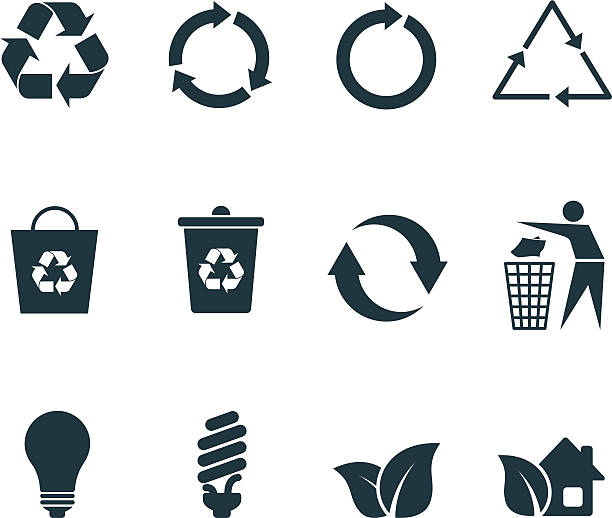 recycle icons - recycling stock illustrations