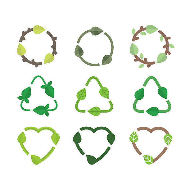 bildbanksillustrationer, clip art samt tecknat material och ikoner med recycle icons - recycling heart