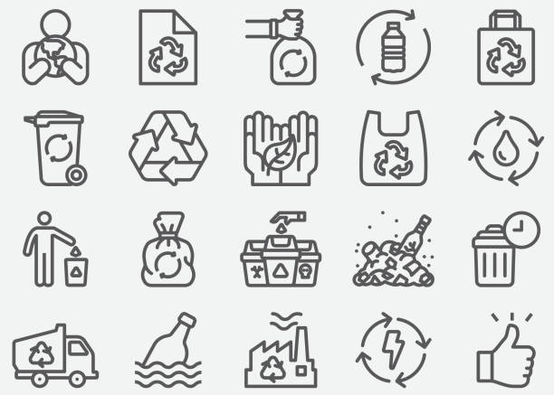 recycle line icons - torba stock illustrations