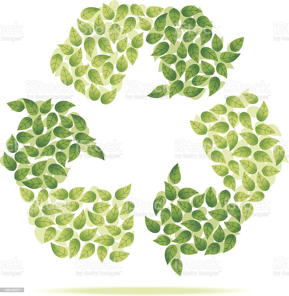 Recycle logo made out of leaves vector art illustration