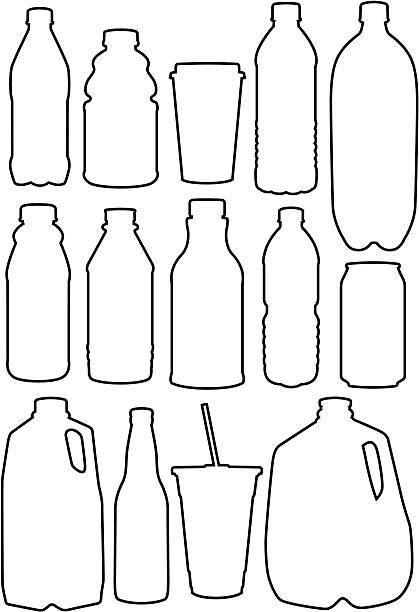 illustrazioni stock, clip art, cartoni animati e icone di tendenza di riciclare profilo - bottle soft drink