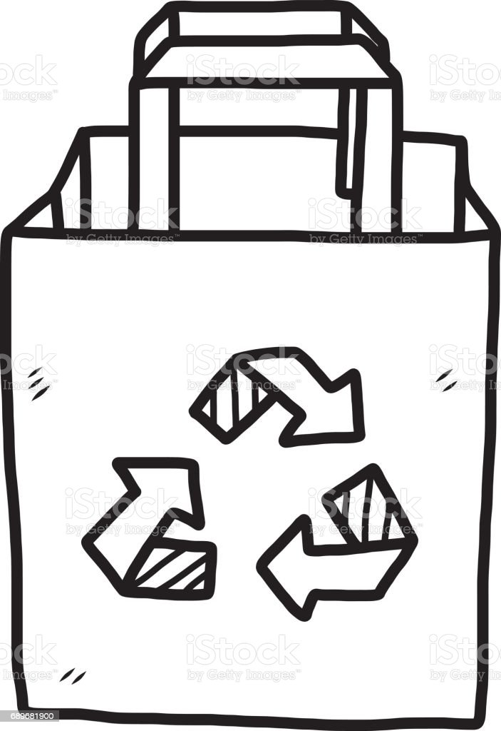 recycle paper bag vector art illustration