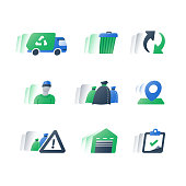 Garbage removal green truck, fast service, collect rubbish, waste bin and litter bags, recycle program, circle arrows, dump vehicle, trash can, recycling plant, vector flat icon set