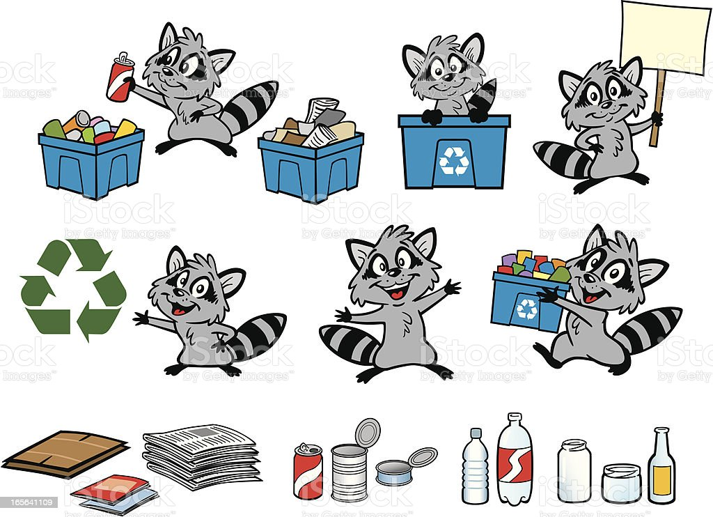 Recycle Raccoon royalty-free stock vector art