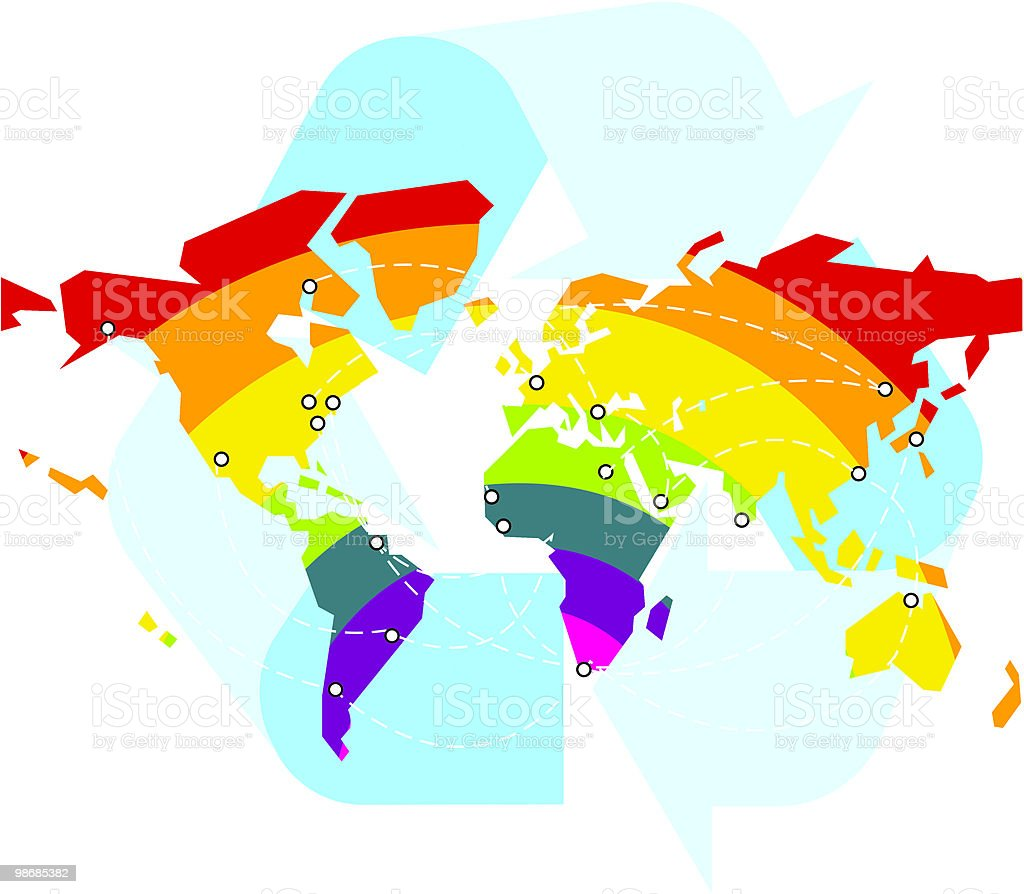 Recycle Rainbow World Map royalty-free recycle rainbow world map stock vector art & more images of africa