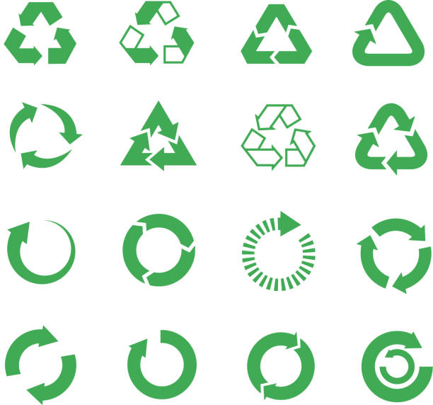 Recycle, raw materials vector icons set Recycle, raw materials vector icons set. Eco cycle nature illustration recycling symbol stock illustrations