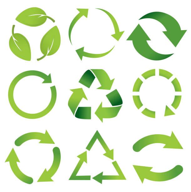 eingestellten symbol papierkorb - recycling stock-grafiken, -clipart, -cartoons und -symbole