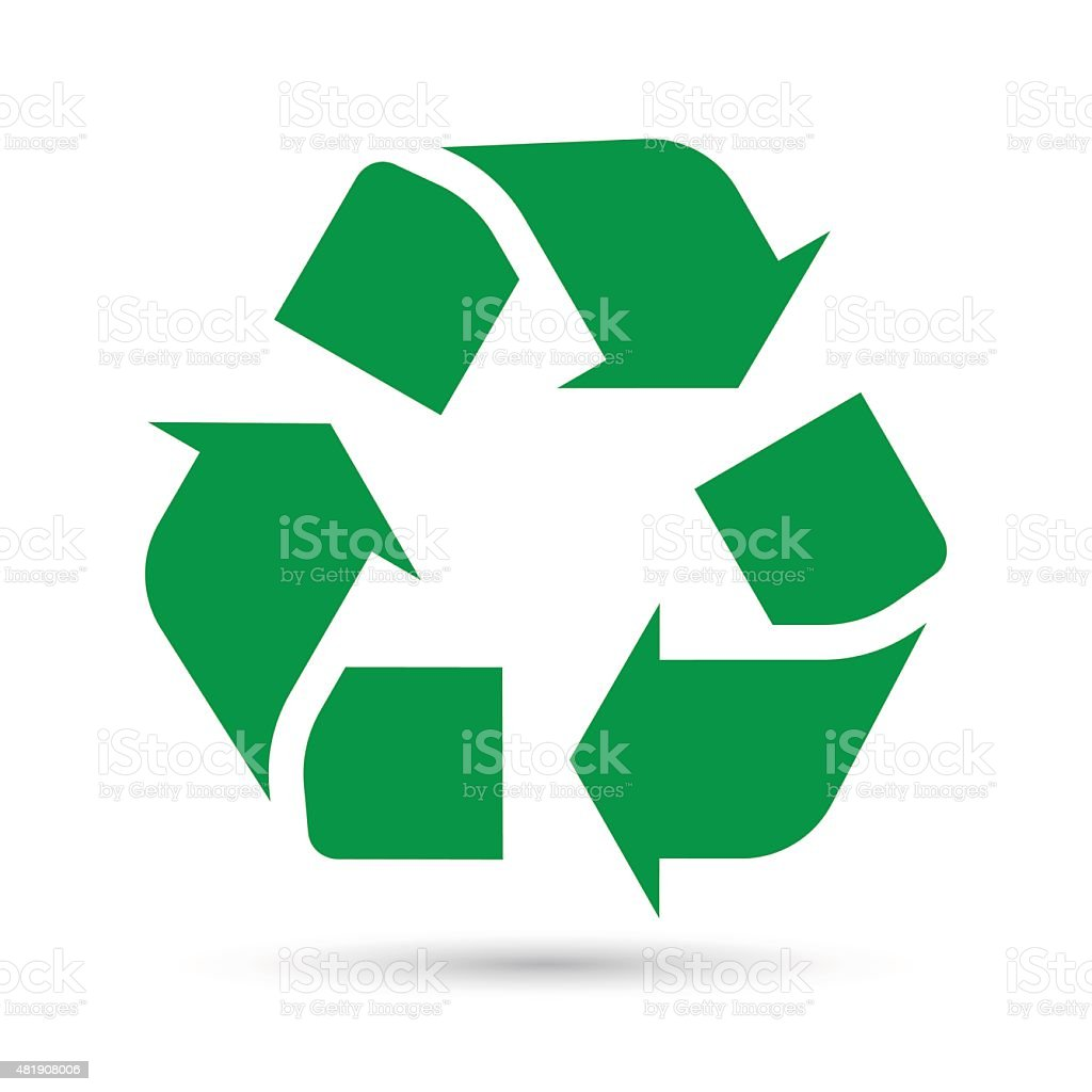 Recycle sign on white background vector art illustration